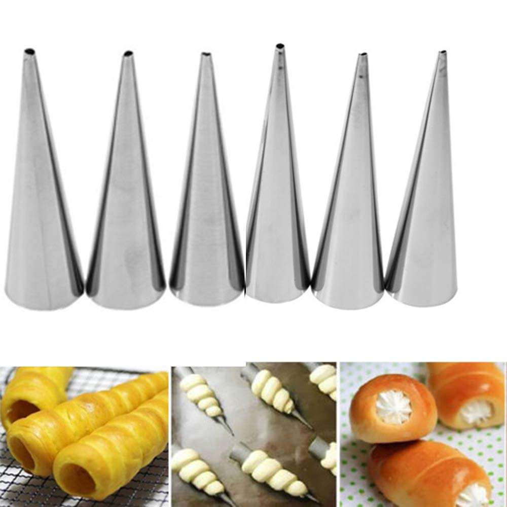 12pcs Stainless Steel Cannoli Cone Form Tubes Horn Shaped For Baking Molds Cream