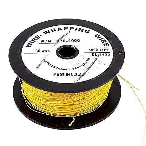 90M 0, 25 mm Soft-PVDF alambre de envolver alambre 30AWG Cable rollo 200C amarillo - - Amazon.com