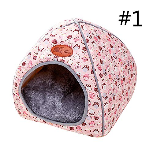 laamei Pets House Dog Bed Cat Cave Bed Tent Pet Igloo Foldable Bed with Lovely Bow for Cats Small Dogs Rabbits Or Toy Breed Dogs Large Pink