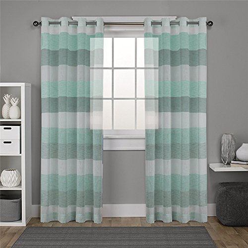 (DEZENE Striped Sheer Curtains for French Doors - 2 Panels - Faux Linen Grommets Tulle Curtains - 54 Inches Width x 96 Inches Long (Total 108