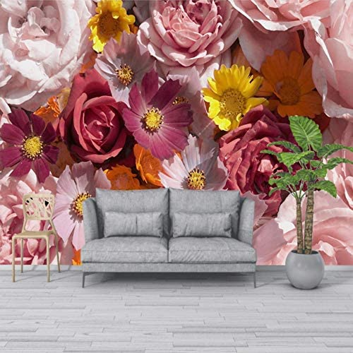 Mingld カスタム3D Hd現代のテレビの背景の壁紙美しいバラの花の壁紙カスタム壁壁画花の壁紙-350X250Cm