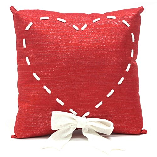 [Valentine Square Heart Pillow with White Ribbon 13