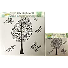 The Crafter's Workshop Set of 2 Stencils - Whimsy Garden 12x12 Large and 6x6 inch Mini - Includes 1 each TCW521 and TCW521s - Bundle 2 Items