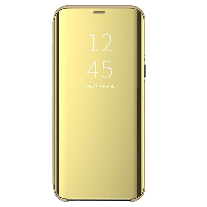 Carcasa para Samsung Galaxy A40 Funda Suave + Duro Carcasa Espejo Mirror Flip Caso Ultra Delgada Shock Caja del Teléfono Translucent Window View