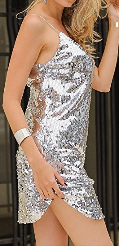 Cromoncent Casual Dresses V Spaghetti Strap Neck Bodycon Silver Womens Sequins CCxUrwv