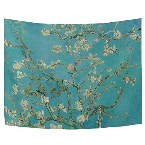WIHVE Van Gogh Tapestry Wall Tapestry 60x40 Inch, Almond Blossom Tree Oil Painting Polyester Wall Hanging Tapestry Art Home Christmas Decor Living Room Bedroom Bathroom Kitchen ()