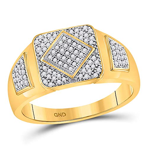 The Diamond Deal 10kt Yellow Gold Mens Round Diamond Diagonal Square Cluster Ring 1/3 Cttw ()