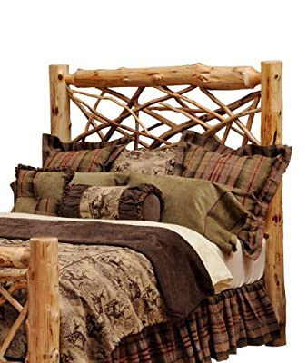 Fireside Lodge Hand Crafted Lacquered Northern White Vintage Cedar Twig Headboard, California King