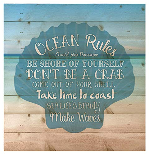 P. Graham Dunn Ocean Rules Seashell Beach Design 12 x 12 Wood Pallet Design Wall Art Sign Plaque (Decor Themed Home Beach)