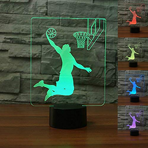 (Jinnwell 3D Basketball Night Light Lamp Illusion Night Light 7 Color Changing Touch Switch Table Desk Decoration Lamps Perfect Christmas Gift with Acrylic Flat ABS Base USB Cable Toy)