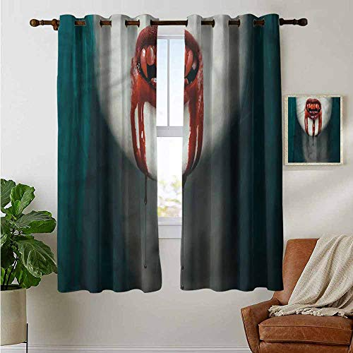 petpany Decorative Curtains for Living Room Vampire,Bloody Teeth Horrifying,Blackout Draperies for Bedroom 52