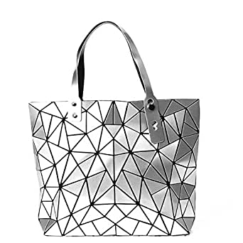 KAISIBO Fashion Geometric Lattice Tote Glossy Purses and Handbags PU Leather Shoulder Bag for Women(K313OSR)