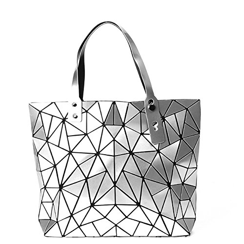KAISIBO Fashion Geometric Lattice Tote Glossy Purses and Handbags PU Leather Shoulder Bag for Women(K313OSR) by KAISIBO