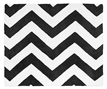 Superior Black And White Chevron Zig Zag Accent Floor Rug