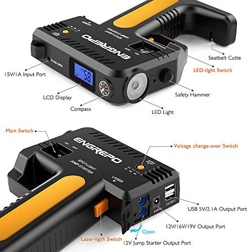 Compact Jumper Cables : Engrepo a peak v portable car jump starter with
