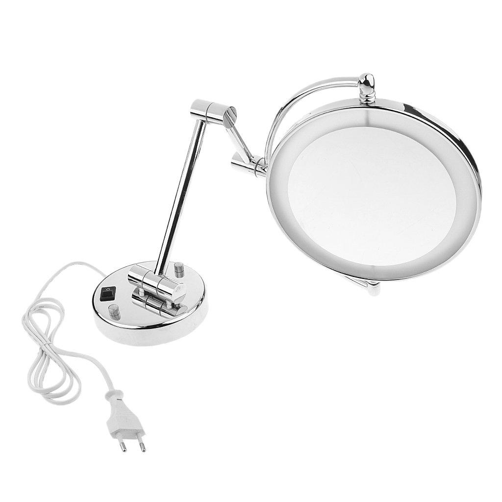 MagiDeal Kosmetikspiegel mit LED Beleuchtung und 3-  5-  7-facher Vergrößerung Doppelseitig Wandmontage Make-up Spiegel, Schminkspiegel für Badezimmer, Kosmetikstudio, SPA und Hotel - Chrome, 7x Vergrößerung