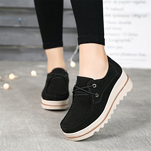 Pictures of HKR Women Lace Up Suede Platform Sneakers 3