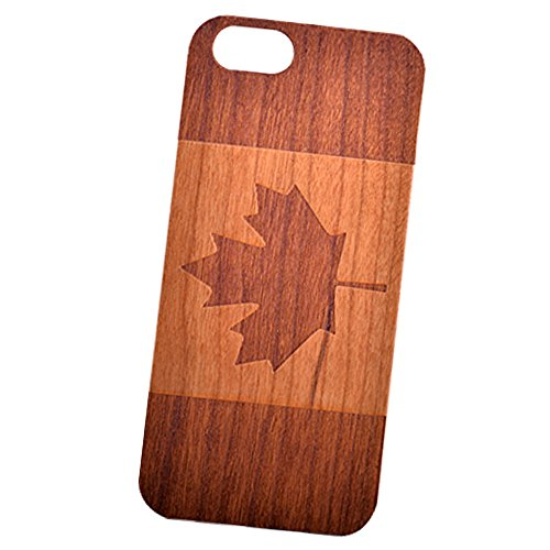 Canada Flag Engraved Cherry Wood Cover for iPhone and Samsung phones Wood - iPhone - To Shipping From Us Canada Usps
