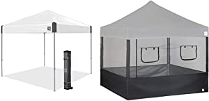 "E-Z UP Ambassador Instant Shelter Canopy, 10 by 10', White Slate & SPFM104TCBK 10' Food Service Vendor Screen Wall Kit with Truss Clips (Set of 4), Black, 10"" x 10"""