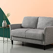 Zinus Classic Upholstered 53.5in Sofa Couch / Loveseat, Soft Grey