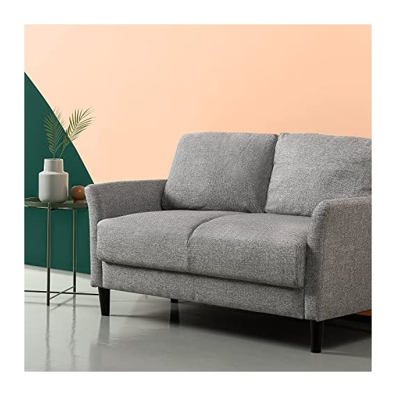 Zinus Jackie Love Seats, Loveseat, Soft Grey - A SMALL SPACE'S BEST FRIEND - Don't let your smaller spaces go bare! This 53 inch loveseat is soft yet supportive and perfectly suited for an apartment, small office or cozy nook BUILT TO LAST - A naturally strong frame is wrapped in supportive foam cushioning and durable woven fabric; seats a maximum weight capacity of 500 lbs; seat cushions are secured to the frame and are not detachable, while back cushions are detachable TOOL FREE ASSEMBLY - All parts and instructions are cleverly packed into one box for easy assembly in less than 20 minutes - sofas-couches, living-room-furniture, living-room - 512vYPk1XkL. SS570  -