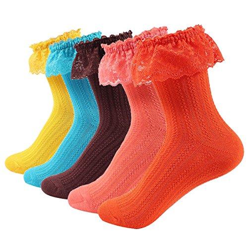 Fitu Womens Cute Rayon From Bamboo Crew Socks 5 Pairs Pack (811-5B)