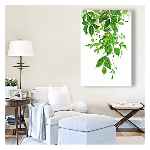 Green Leaves Watercolor Painting Style Art Reproduction ation