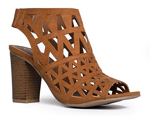 Heel Toe Wood Adams High Bootie Slip Riviera Peep On Elastic Laser Cut Cutout Tan J Suede Shoe Back wq41xq