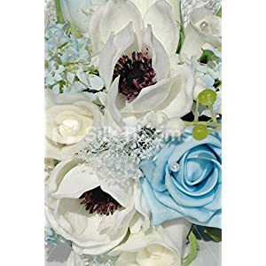 Real Touch White & Light BLue Anemone Wedding Mini Posy Bouquet 2