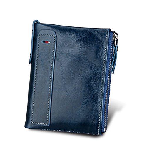 Cuir Sac Hommes Véritable Crédit Double À Portefeuilles Carte D'affaires En Main Portefeuille feuille Zipper Porte Bleu Td5qqvwfWH