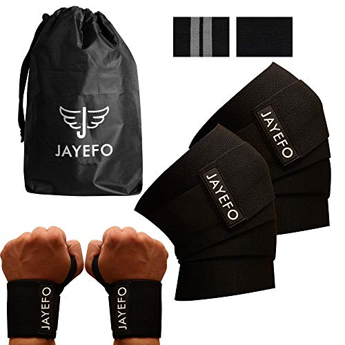 Jayefo Powerlifting Knee Wraps + Wrist Wraps Pairs Set for Gym Exercise Knee & Wrist Support Ideal for Deadlifts Squats Bench Press Pull UPS (Black, ONE Size)
