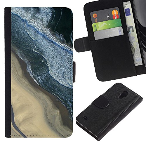 For SAMSUNG Galaxy S4 IV / i9500 / i9515 / i9505G / SGH-i337,S-type® Photography Sand Beach Surf Waves - Drawing PU Leather Wallet Style Pouch Protective Skin - Photography Sgh