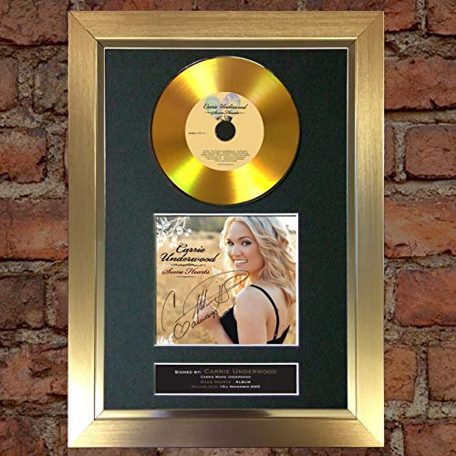 #185 Gold CD Carrie Underwood Some Hearts Signed Autograph CD & Cover Reproduction Print A4 Rare Perfect Birthday (297 x 210mm) (Gold Frame)