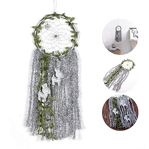OSAYES Dream Catcher Handmade Silver Sequins Ribbon Green Vine Wall Hanging Ornament Dream Catcher for Home Xmas Wall Pendant Decoration Catching Nightmare