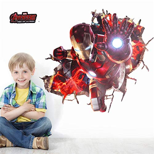 Best Choise Product 3D Effect Iron Man Hero Through Wall s for Kids Rooms Nursery Wall Art Decals Decor The Avengers Wallpaper DIY Poster for $<!--$16.62-->