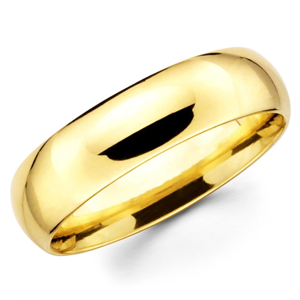 10K Solid Yellow Gold 6mm Wedding Band Ring, Size 8 by Paradise Jewelers