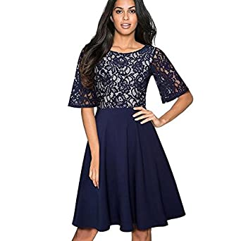 Amazon.com: A-line Work Vestidos Women Casual Formal Swing Dress - Dark Blue, L: Clothing
