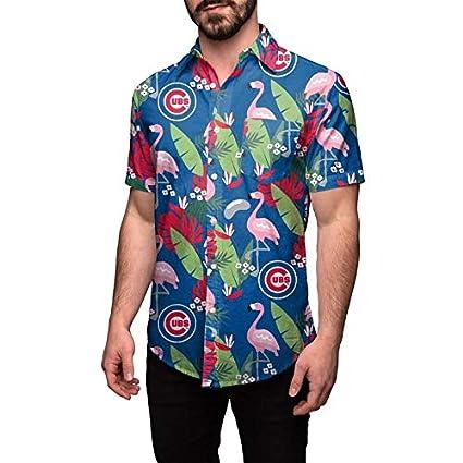 Amazon.com   Chicago Cubs Floral Button Up Hawaiian Shirt   Sports ... b23b606d8