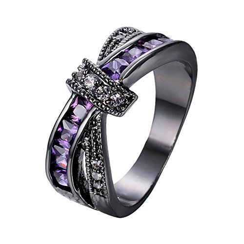 (Bamos Jewelry Womens Purple ZC Stone Promise Gift Rings Lab for Engagement Wedding Criss Cross Black Gold Plated Ring for Her Size 9)
