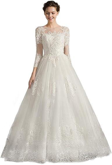 Amazon Com Vintage Lace Long Sleeve Wedding Dress Beaded Round