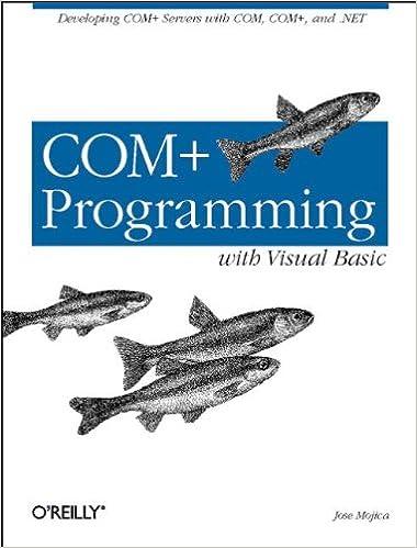 COM+ Programming with Visual Basic Servers with COM COM and .NET Developing COM
