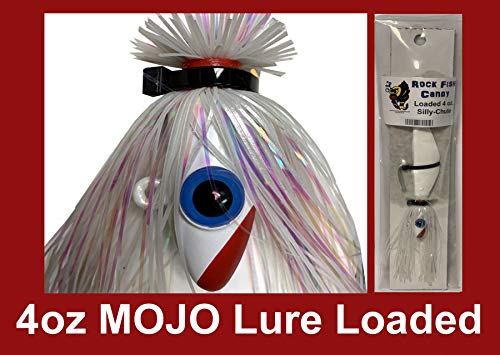 - Blue Water Candy - Rock Fish Candy 4 oz Mojo Lure Loaded with 6-Inch Swimbait Shad Body, Silly-Chute (White)