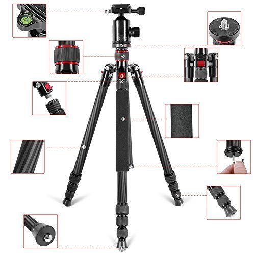 Neewer Carbon Fiber 66 inches/168 centimeters Camera Tripod Monopod with 360 Degree Ball Head,1/4 inch Quick Shoe Plate,Bag for DSLR Camera,Video Camcorder,Load up to 26.5 pounds/12 kilograms