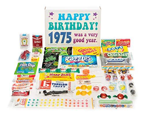 Woodstock Candy ~ 1975 44th Birthday Gift Box Assortment of Nostalgic Retro Candy from Childhood for 44 Year Old Man or Woman Born 1975