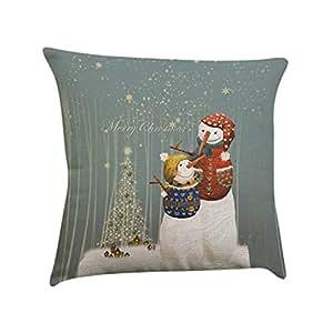 Ouneed® Navidad funda de almohada lino cuadrado funda de almohada decorativo funda de cojín