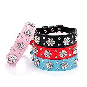 Gimilife Pet Collars 2 Rows Rhinestone Bling Flower Studded PU Leather Dog Collar for Small or Medium Dogs (pink, M)