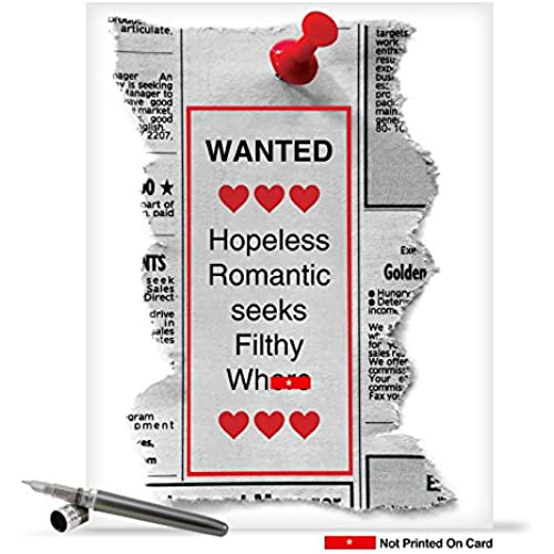 J1680VDG Jumbo Funny Valentine's Day Card: Hopeless Romantic With Envelope (Extra Large Version: 8.5 x 11) Sales