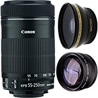 Canon 55-250mm IS STM Lens + High Definition Wide Angle Auxiliary Lens + High Definition Telephoto Auxiliary Lens