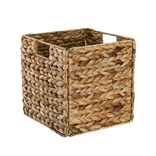 Organize It All Hand Woven Natural Hyacinth Collapsible Storage Basket with Handles