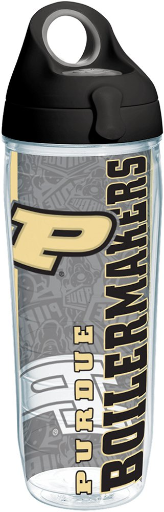 Tervis 1216898 Purdue Boilermakers College Pride Tumbler with Wrap and Black with Gray Lid 24oz Water Bottle, Clear